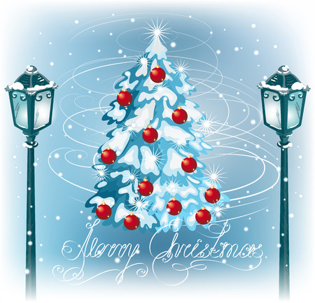 fur tree: Natale lampione d'epoca sullo sfondo del paesaggio sera e albero di pelliccia