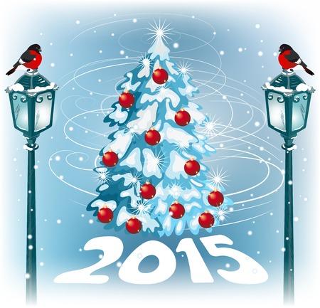 fur tree: Natale lampione vintage con bullfinch sullo sfondo del paesaggio sera e albero di pelliccia Vettoriali