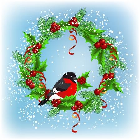 Christmas wreath with bullfinch on the snowfall background Vector
