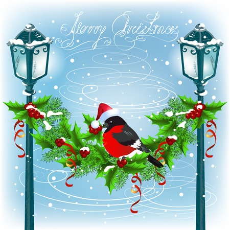 Christmas lanterns with decorative garland and bullfinch in Santa Claus hat Vector