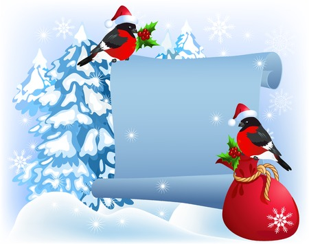 bagful: Christmas parchment with bullfinches in Santa Claus hat and gift bag