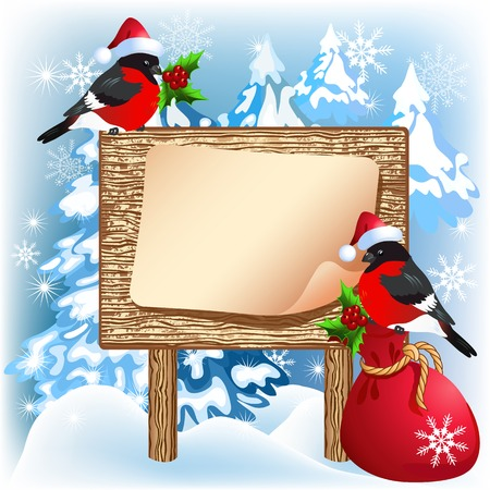 bagful: Christmas wooden signboard with bullfinches in Santa Claus hat and gift bag
