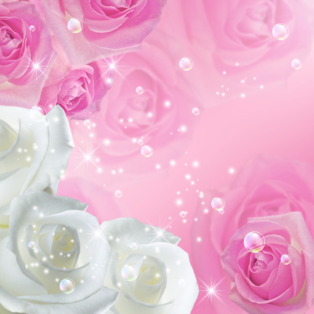 White and pink roses with  stars and bubbles photo