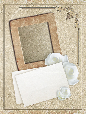 grunge photo frame: Old grunge photo frame with roses and paper for letter