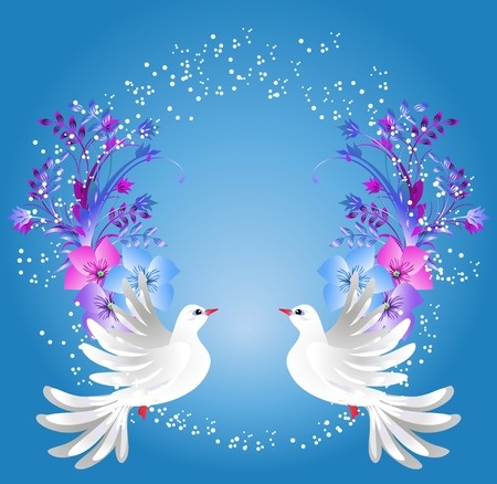 Flying two white doves on blue background with floral ornament Illustration