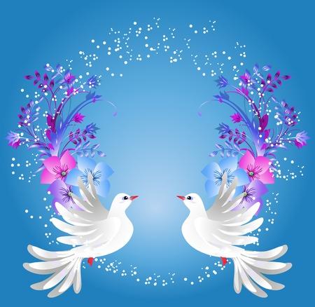 paloma blanca: Volar dos palomas blancas en fondo azul con adornos florales