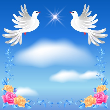 faithfulness: Flying two white doves in the sky and roses Illustration