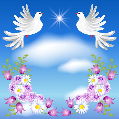 Flying two white doves in the sky and flowers Illustration