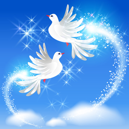 Volar dos palomas blancas en el cielo y saludo con gas Foto de archivo - 35995780