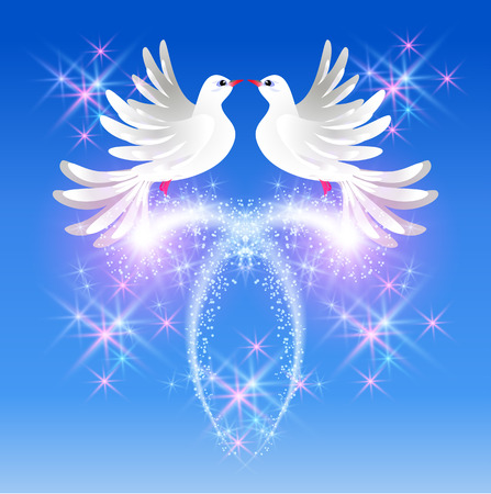 faithfulness: Flying two white doves in the sky and sparkling salute