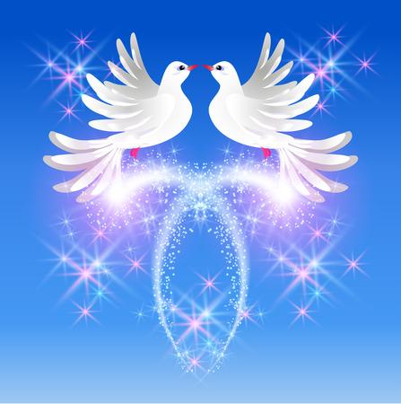 fidelidad: Volar dos palomas blancas en el cielo y saludo con gas