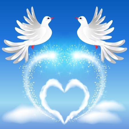 fidelidad: Volar dos palomas blancas en el cielo y el corazón con saludo sparkling