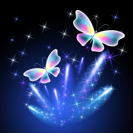 dreamlike: Transparent butterfly and glowing firework