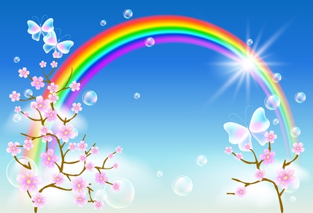 Sakura blossom and transparent butterflies on the blue sky background with rainbow Vector