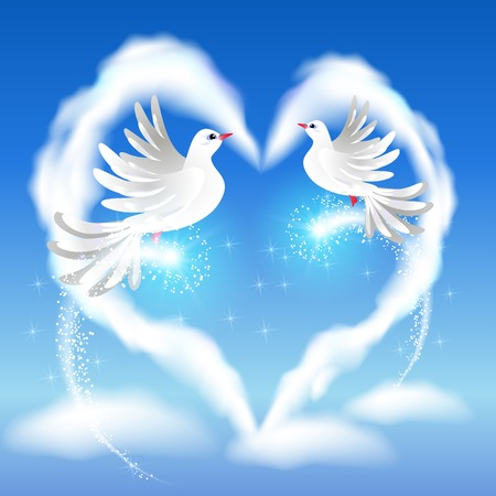faithfulness: Flying two white pigeon in the blue sky and heart with glowing salute