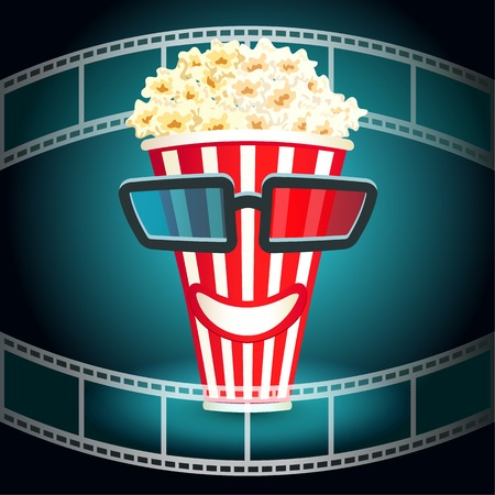 3 d glasses: 3d glasses put on a box with popcorn, who smiles Illustration