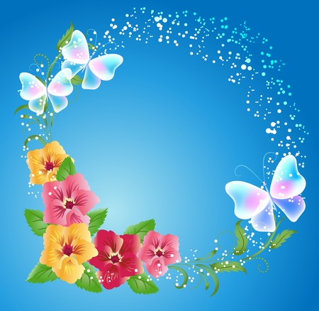 pansies: Pansies and transparent butterflies on the blue background Illustration