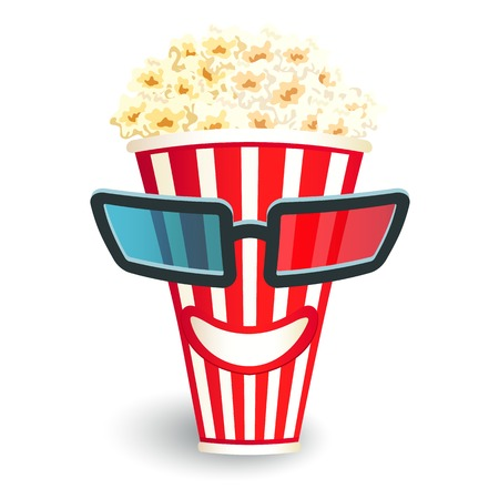 3d glasses put on a box with popcorn, who smiles Vector