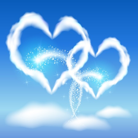 faithfulness: Two cloud hearts with glowing salute in the blue sky