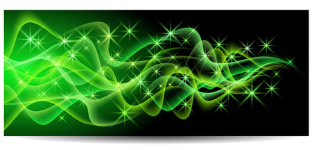 curvature: Magic glowing background with neon smoke, shining stars Illustration