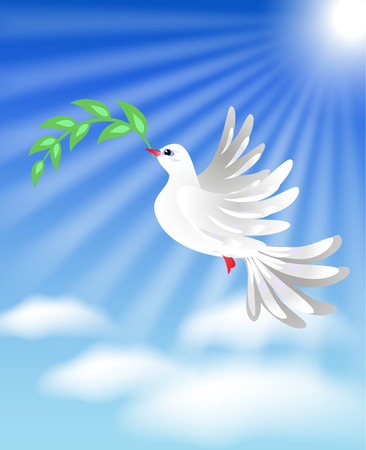 Flying white dove with green branch in the blue sky with clouds Vector