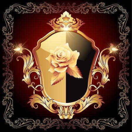 Middeleeuwse heraldische schild versierd sierlijke gouden sieraad met roze en kroon