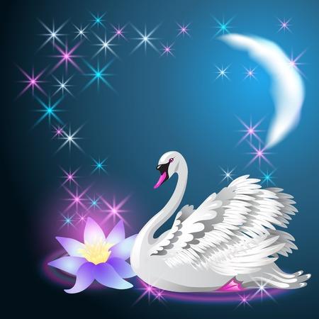 Magic lelie en witte zwaan zwemmen in de nacht onder de maan en gloeiende sterren