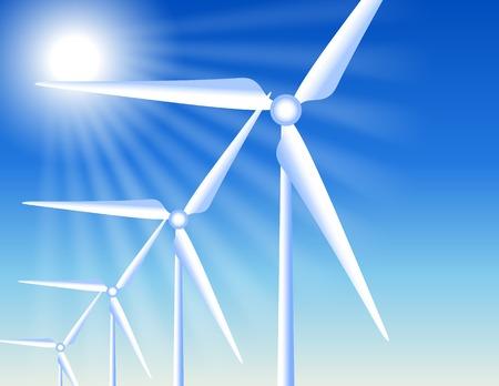 alternatively: Le turbine eoliche sullo sfondo del cielo e del sole chiari raggi