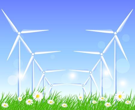 alternatively: Turbine eoliche in campo con i fiori Vettoriali