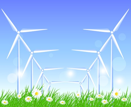 windpower: Wind turbines in the field with flowers