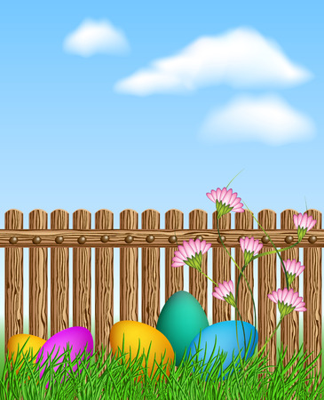 religion  herb: Easter eggs lying in the grass in front of a wooden fence