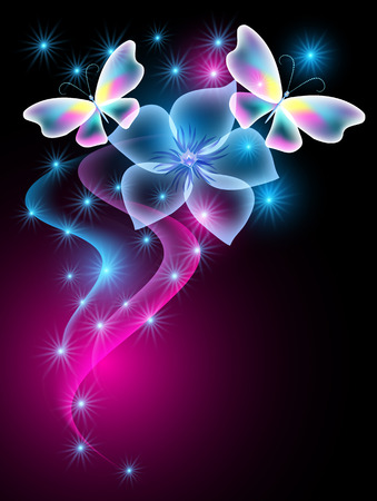 Glowing butterflies and smoke, transparent flower with sparkle stars Illustration