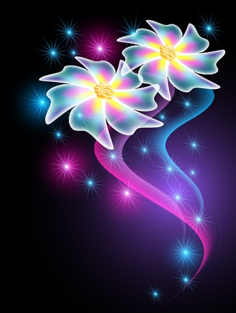 Neon flowers with glowing smoke and sparkle stars Illustration
