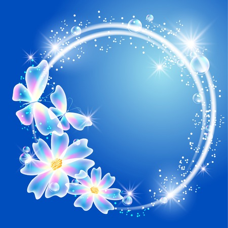 Glowing blue background with transparent butterflies, flowers and sparkle stars Vector