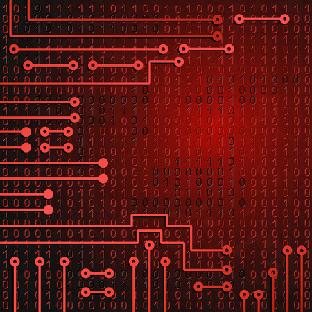Drawing modern electronic circuit and  binary code on red grungy background