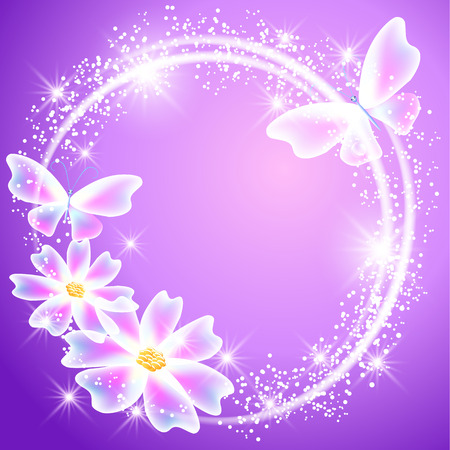 Glowing lilac background with transparent butterflies, flowers and sparkle stars Vector