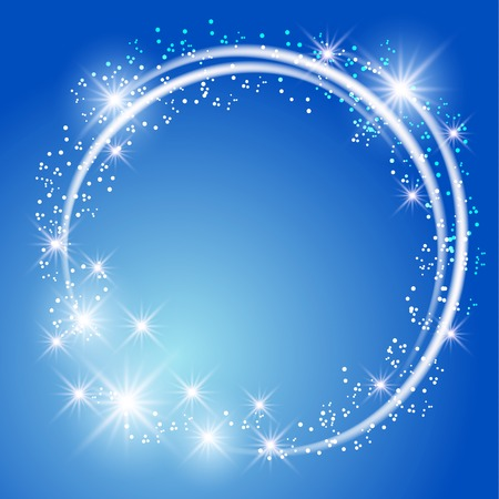 Glowing blue background with sparkle stars round frame Vectores