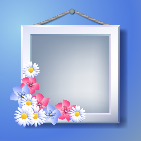 White photo frame and floral ornament