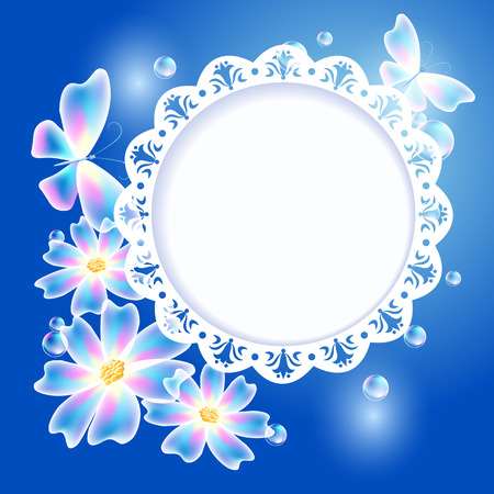 openwork: Glowing blue background with transparent butterflies, flowers and openwork frame for text or photo