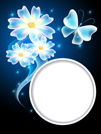Glowing blue background with transparent butterfly, flowers and round frame for text or photo Vector