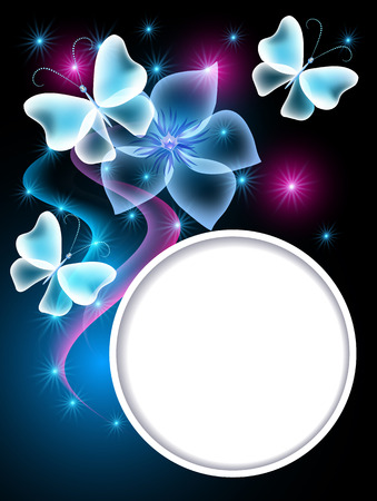 Glowing blue background with transparent butterflies, flower and round frame for text or photo Vector