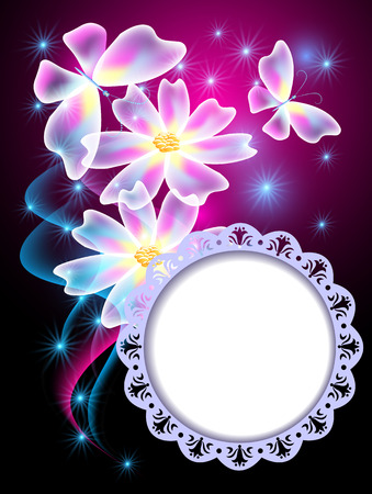 Glowing blue background with transparent butterflies, flowers and round openwork  frame for text or photo Vector