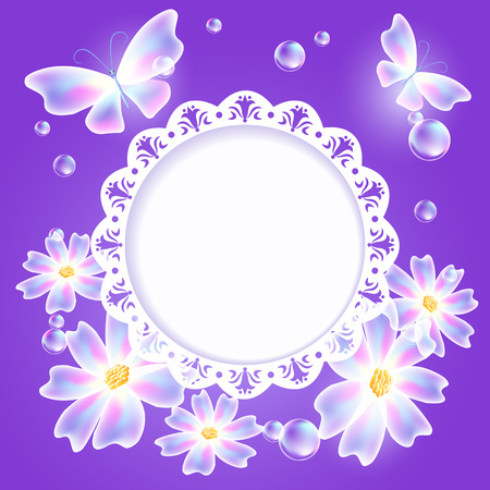 Glowing violet background with transparent butterflies, flowers and openwork frame for text or photo
