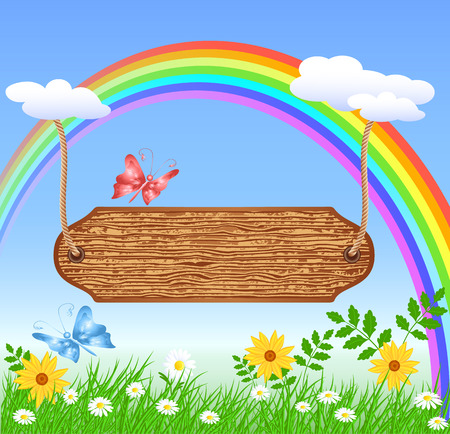 wooden signboard: Wooden signboard hanging on rainbow on the meadow with daisies and butterflies