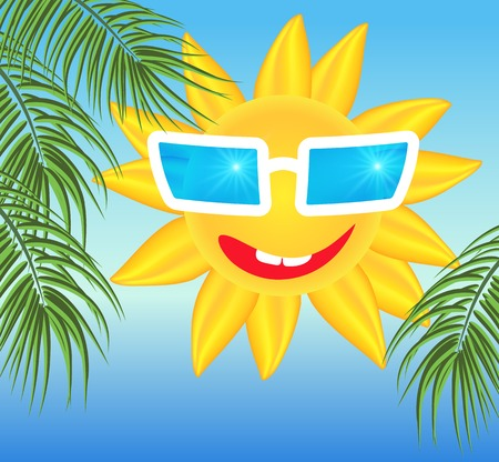 laughable: Smiling sun in glasses on blue background with palm branches Illustration