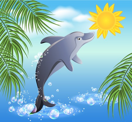flippers: Dolphins leaps from water on the background of clouds and yellow sun