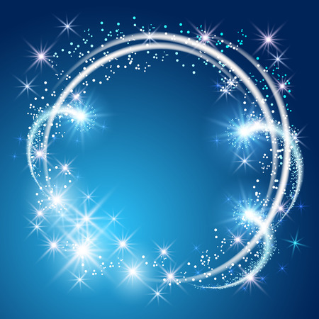 Glowing blue background with sparkle stars round frame Stock Illustratie