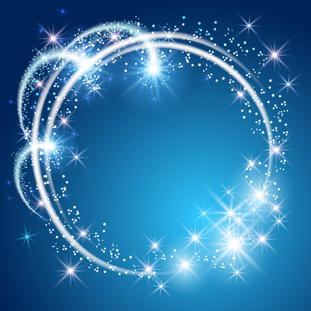 Glowing blue background with sparkle stars round frame Ilustração