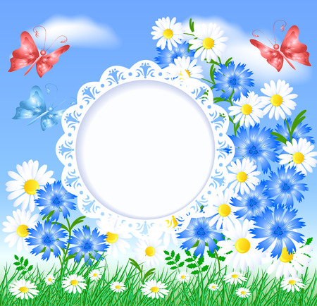 sample environment: Spring meadow with butterflies, flowers and openwork frame for text or photo