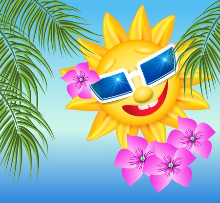 sun flowers: Smiling sun in glasses with flowers and palm branches